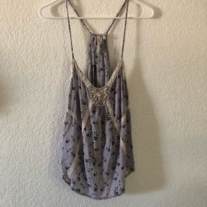 Tops - Purple Tank With Lace Detail